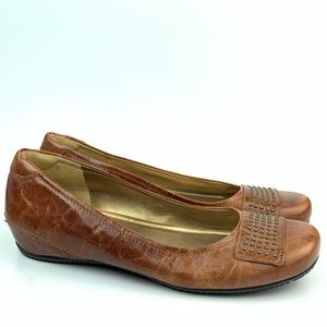 Ecco flats size 39 8-8.5 brown leather ballet